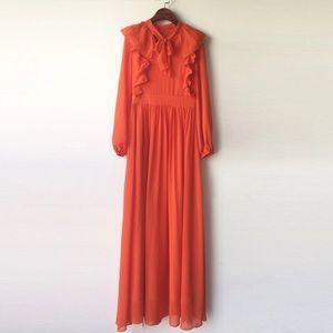 Orange ruffled bow neck maxi dress. Size S